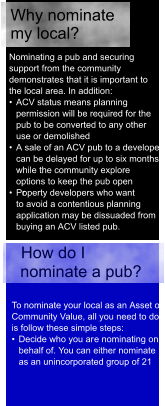 Nominating a pub and securing  support from the community  demonstrates that it is important to  the local area. In addition:  •  ACV status means planning  permission will be required for the  pub to be converted to any other  use or demolished  •  A sale of an ACV pub to a developer  can be delayed for up to six months  while the community explore  options to keep the pub open •  Pr operty developers who want  to avoid a contentious planning  application may be dissuaded from  buying an ACV listed pub. How do I  nominate a pub?  To nominate your local as an Asset of  Community Value, all you need to do  is follow these simple steps: •  Decide who you ar e nominating on  behalf of. You can either nominate  as an unincorporated group of 21  Why nominate  my local?